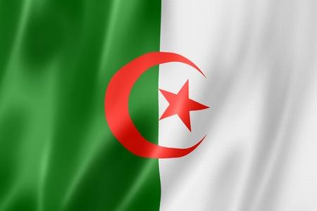 Algeria flag, three dimensional render, satin texture photo