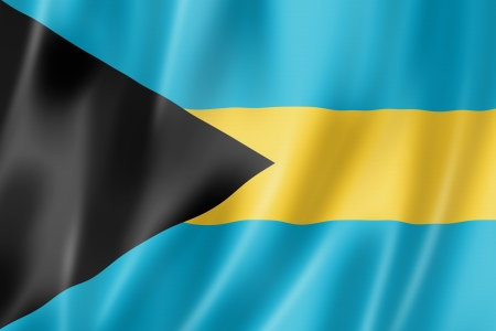 three dimensional: Bahamas flag, three dimensional render, satin texture