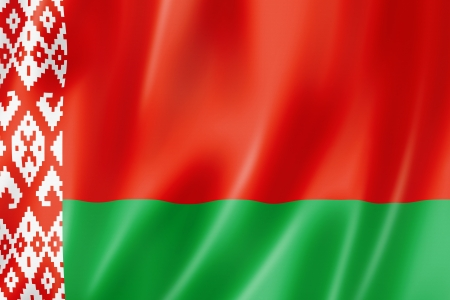 belorussian: Belarus flag, three dimensional render, satin texture