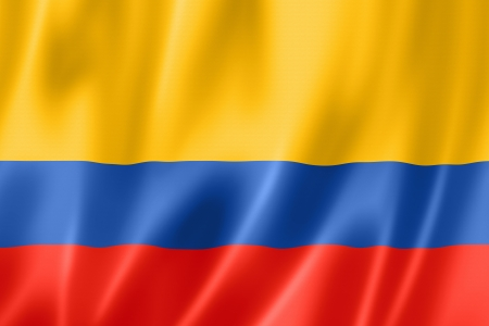 Colombia flag, three dimensional render, satin texture Stock fotó