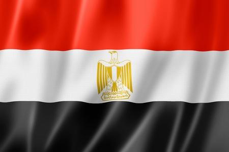 bandera de egipto: Bandera de Egipto, tres de representación tridimensional, textura satinada Foto de archivo