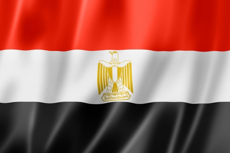 egypt flag: Egypt flag, three dimensional render, satin texture Stock Photo