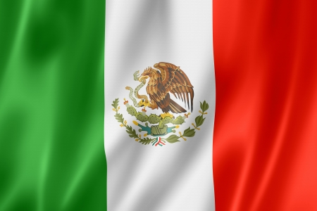 green flag: Mexico flag, three dimensional render, satin texture