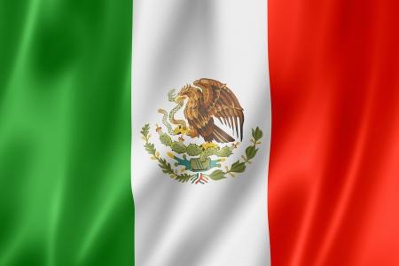 Mexico vlag, driedimensionale render, satijnen structuur