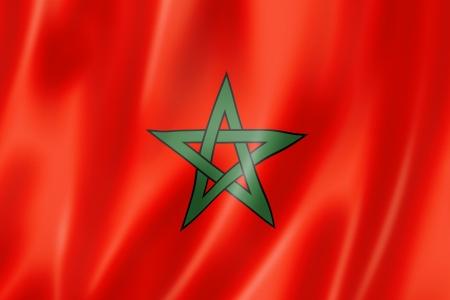 Marokko vlag, driedimensionale render, satijnen structuur