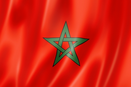 Morocco flag, three dimensional render, satin texture