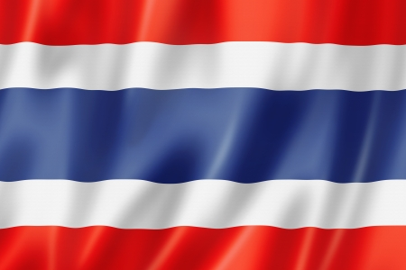 red flag: Thailand flag, three dimensional render, satin texture
