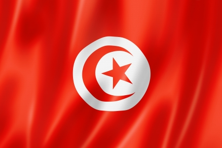 Tunisia flag, three dimensional render, satin texture photo