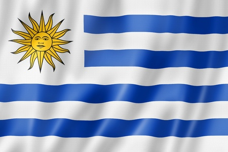uruguay: Uruguay flag, three dimensional render, satin texture
