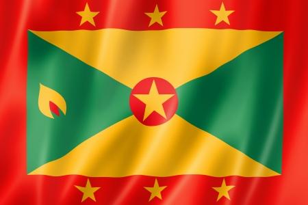 grenada: Grenada flag, three dimensional render, satin texture Stock Photo