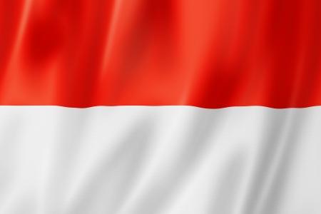 indonesisch: Indonesië vlag, driedimensionale render, satijn textuur
