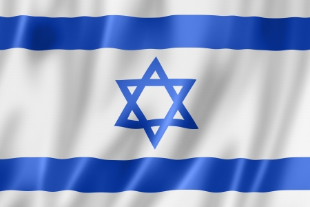 Israel flag, three dimensional render, satin texture photo