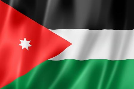 Jordanie drapeau, trois dimensions de rendu, texture satinée Banque d'images - 15091599