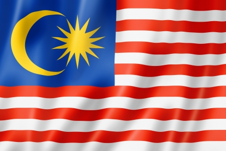 Malaysia flag, three dimensional render, satin texture