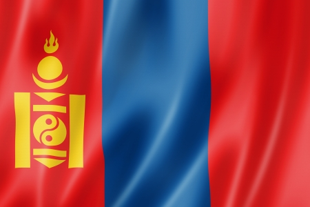 mongolia: Mongolia flag, three dimensional render, satin texture