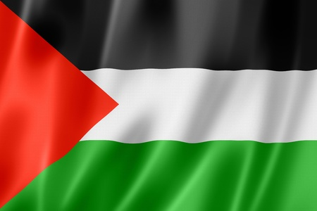 Palestine flag, three dimensional render, satin texture photo
