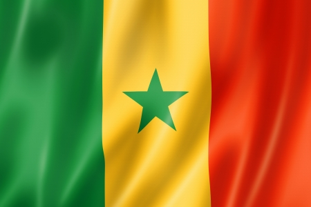 Senegal flag, three dimensional render, satin texture