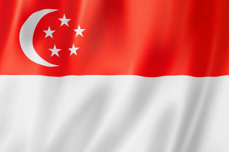 Singapore flag, three dimensional render, satin texture