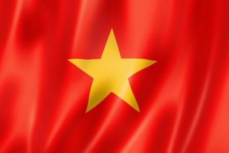 vietnam flag: Vietnam flag, three dimensional render, satin texture Stock Photo