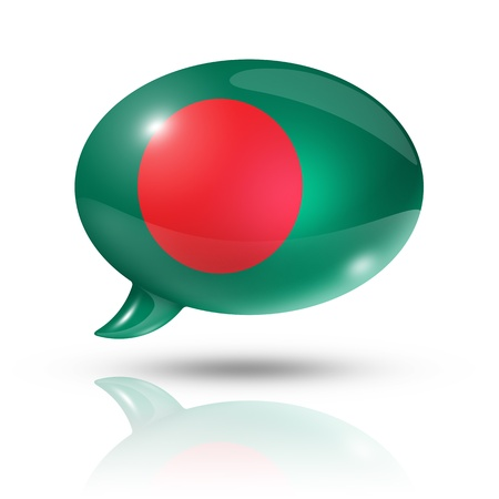 three dimensional Bangladesh flag in a speech bubble isolated on white photo