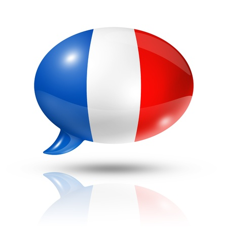three dimensional France flag in a speech bubble isolated on white  photo