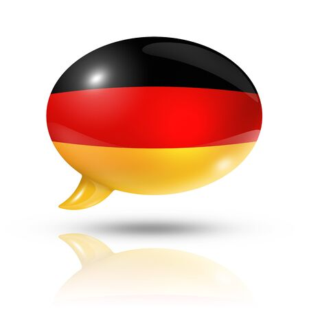three dimensional Germany flag in a speech bubble isolated on white