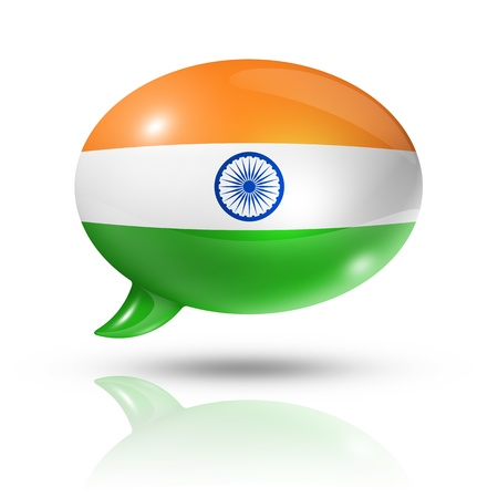 three dimensional India flag in a speech bubble isolated on white  photo