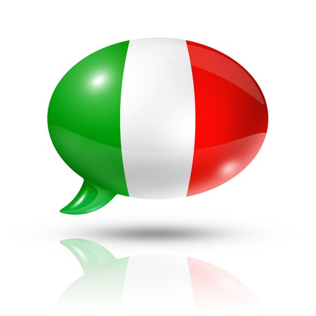 three dimensional Italy flag in a speech bubble isolated on white  photo