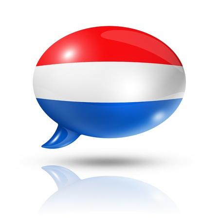 drie dimensionale Nederland vlag in een tekstballon geïsoleerd op wit Stockfoto