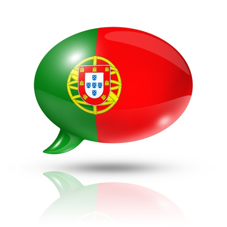 drapeau portugal: drapeau aux trois dimensions du Portugal dans une bulle isolée sur fond blanc