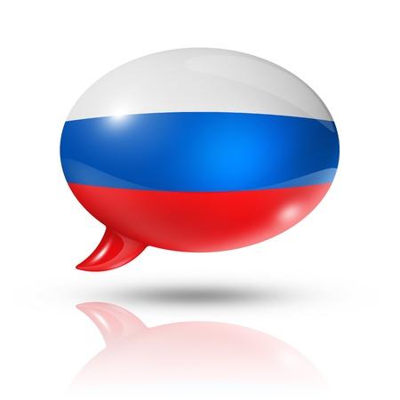 drie dimensionale vlag van Rusland in een tekstballon geïsoleerd op wit