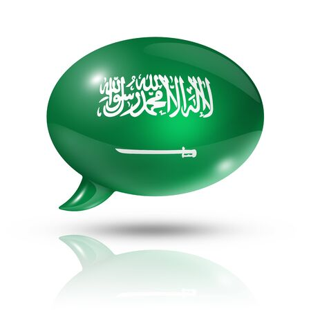 three dimensional Saudi Arabia flag in a speech bubble isolated on white  photo