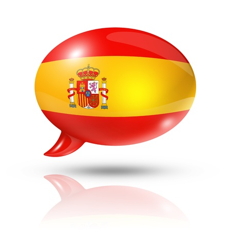 spanish language: three dimensional Spain flag in a speech bubble isolated on white