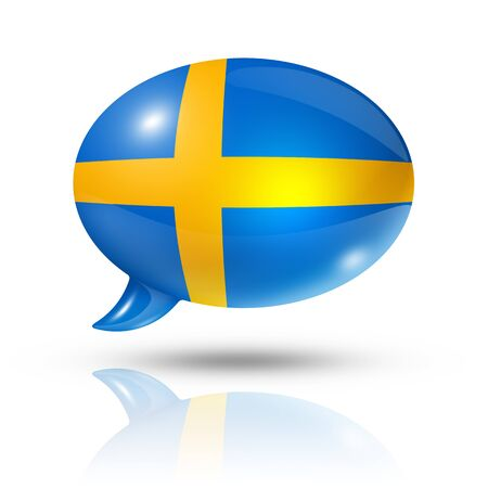 three dimensional Sweden flag in a speech bubble isolated on white photo