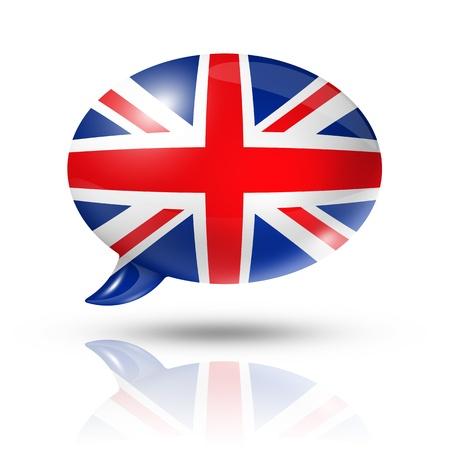 drie dimensionale Britse vlag in een tekstballon geïsoleerd op wit