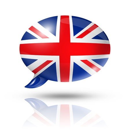 in english: three dimensional UK flag in a speech bubble isolated on white