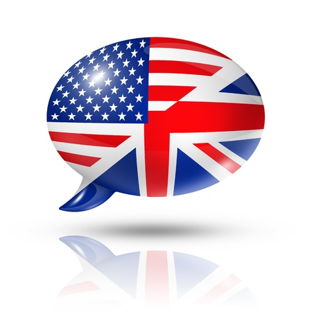 in english: three dimensional UK and USA flags in a speech bubble isolated on white  Stock Photo