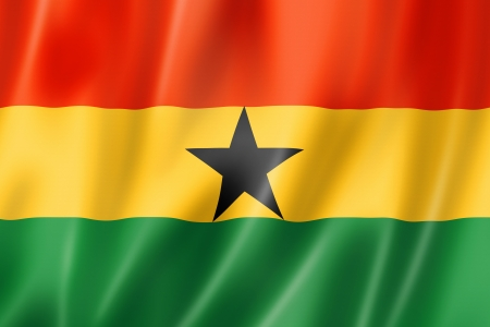 Ghana: Ghana flag, three dimensional render, satin texture Stock Photo