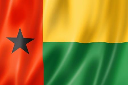 bissau: Guinea Bissau flag, three dimensional render, satin texture Stock Photo