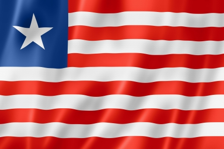 liberia: Liberia flag, three dimensional render, satin texture