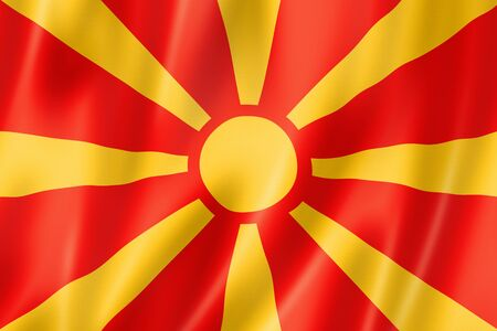 macedonia: Macedonia flag, three dimensional render, satin texture Stock Photo