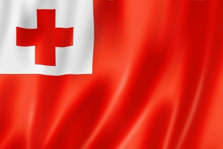 cruz roja: Tonga bandera, render tres dimensiones, textura satinada