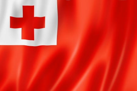 red cross: Tonga flag, three dimensional render, satin texture