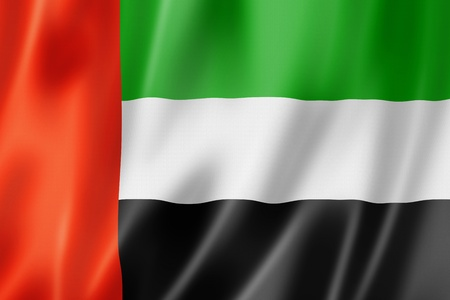 United Arab Emirates flag, three dimensional render, satin texture photo