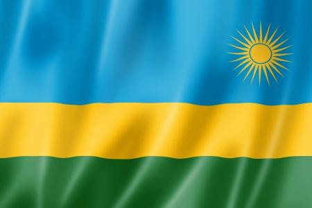 rwanda: Rwanda flag, three dimensional render, satin texture Stock Photo