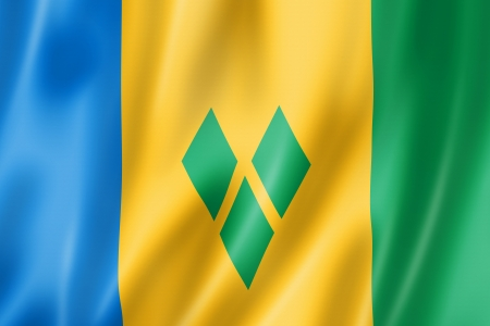 grenadines: Saint Vincent and the Grenadines flag, three dimensional render, satin texture Stock Photo