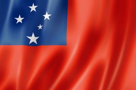 samoa: Samoa flag, three dimensional render, satin texture