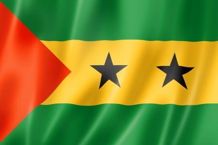 principe: Sao Tome and Principe bandera, tres render tridimensional, textura satinada