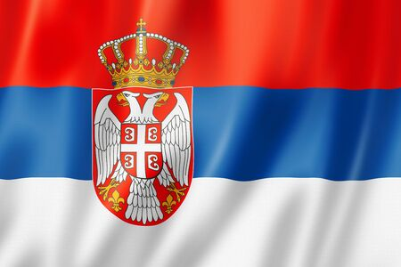 serbia: Serbia flag, three dimensional render, satin texture