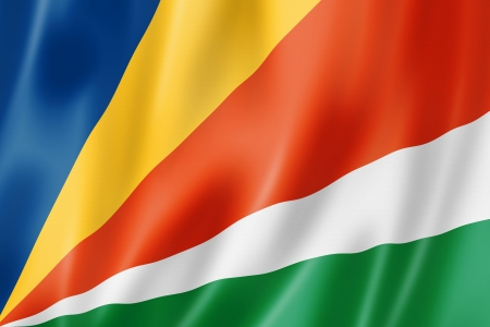 seychelles: Seychelles flag, three dimensional render, satin texture Stock Photo